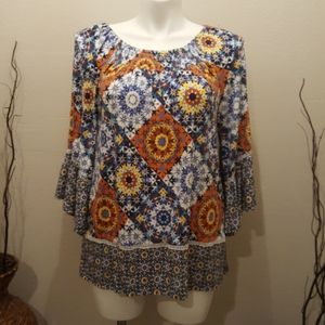 Ruby Rd Colorful top Blouse Size Large